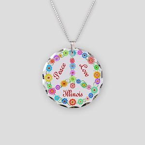 Peace Love Illinois Necklace Circle Charm