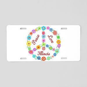 Peace Love Illinois Aluminum License Plate