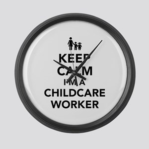 Keep calm I'm a childcare worker Large Wall Clock