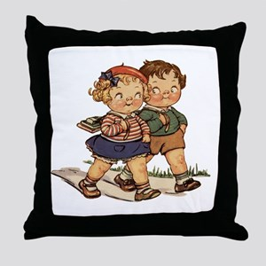 Kids Walking Throw Pillow