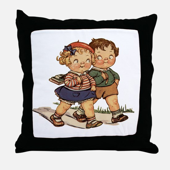 Kids Walking Throw Pillow