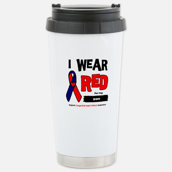 I wear red for my son Stainless Steel Travel Mug