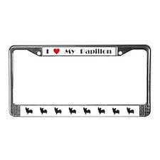 I Love My Papillon License Plate Frame