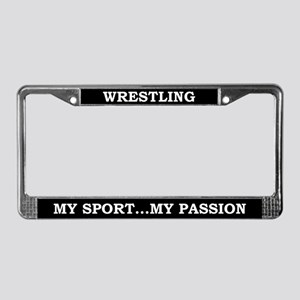 Wrestling My Passion License Plate Frame