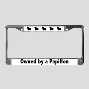 Owned by a Papillon License Plate Frame