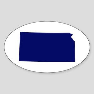 Kansas - Blue Sticker (Oval)