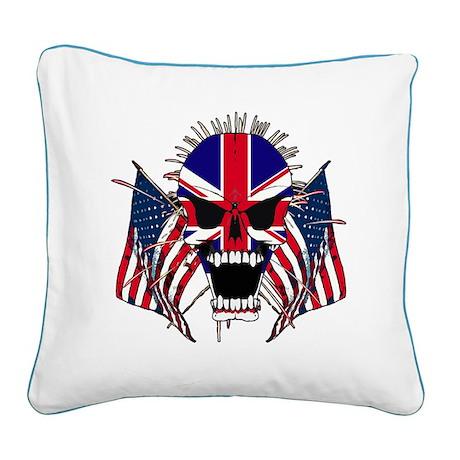 European Screaming Skull Square Canvas Pillow