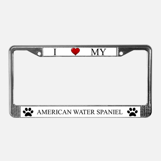 White I Love My American Water Spaniel Frame