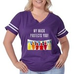My Mask Protects You! Women's Plus Size Football T