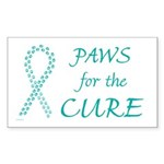 Teal Paws Cure Rectangle Sticker