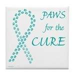 Teal Paws Cure Tile Coaster