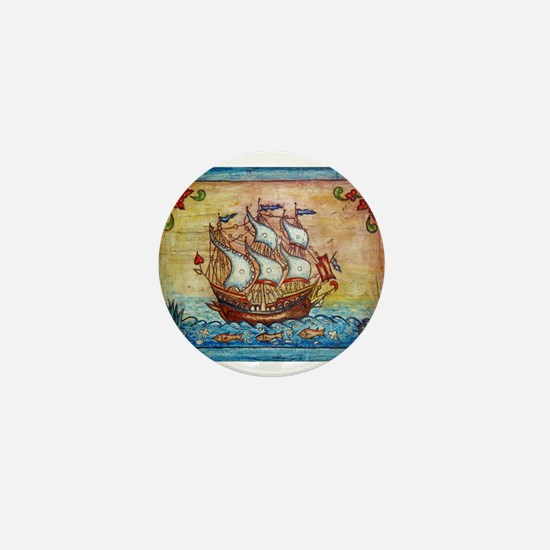 Folk art ship Mini Button