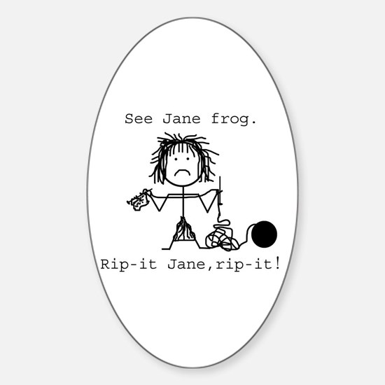 SEE JANE FROG Oval Decal