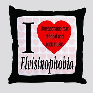 I Love Elvisinophobia (TM) Throw Pillow