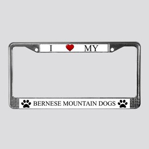 White I Love My Bernese Mountain Dogs Frame