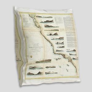 Vintage Map of The U.S. West C Burlap Throw Pillow