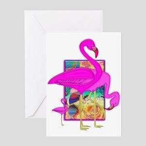 Family of Pink Flamingos Greeting Card