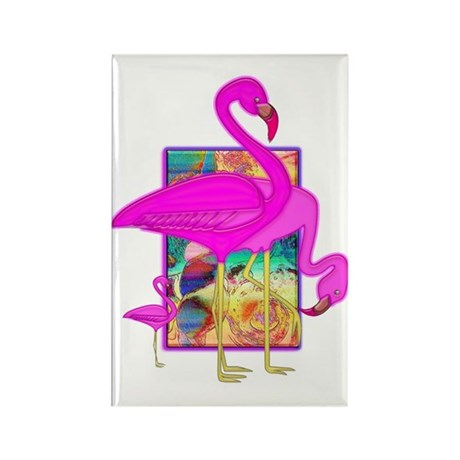 Family of Pink Flamingos Rectangle Magnet