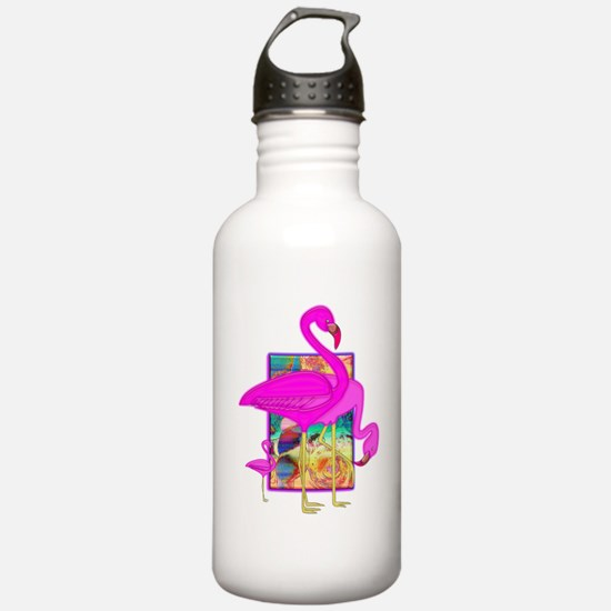 Family of Pink Flamingos Water Bottle