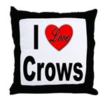 I Love Crows Throw Pillow
