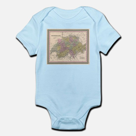 Vintage Map of Switzerland (1853) Body Suit