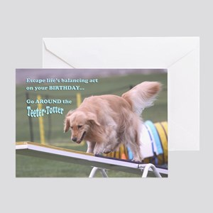 Golden Retriever Birthday Card 'Balance'
