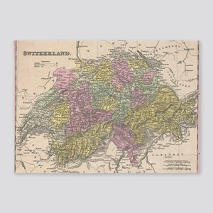 Vintage Map of Switzerland (1853) 5'x7'Area Rug
