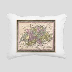 Vintage Map of Switzerla Rectangular Canvas Pillow