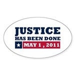 Justice Has Been Done Sticker (Oval 10 pk)