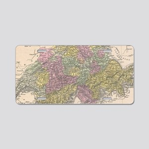 Vintage Map of Switzerland Aluminum License Plate