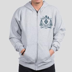 Zeta Beta Tau Fraternity Crest in Blue Zip Hoodie