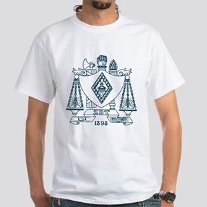 Zeta Beta Tau Fraternity Crest in Bl White T-Shirt