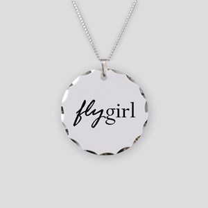 Fly Girl Necklace Circle Charm