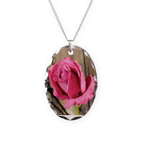 Rose Photograph Necklace Oval Charm