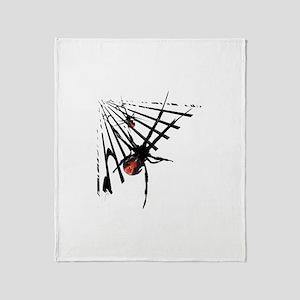 Redback Spider in Web Throw Blanket