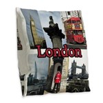London Views Burlap Throw Pillow