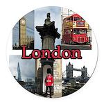 London Views Round Car Magnet