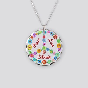 Peace Love Colorado Necklace Circle Charm