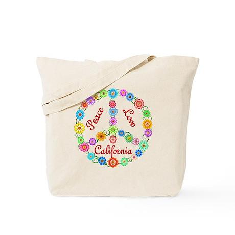 Peace Love California Tote Bag