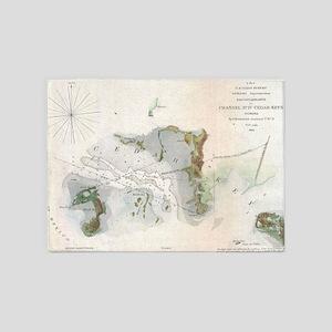 Vintage Map of Cedar Key Florida (1 5'x7'Area Rug