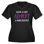 Save A Life Women's Plus Size V-Neck Dark T-Shirt