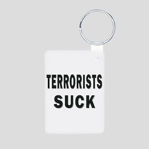 TERRORISTS SUCK Aluminum Photo Keychain