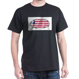 Liberia Flag Oval Button T-Shirt