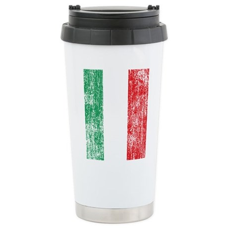 Vintage Italian Flag Stainless Steel Travel Mug