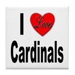 I Love Cardinals Tile Coaster