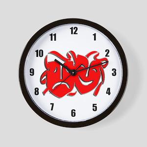 Red Masks Wall Clock