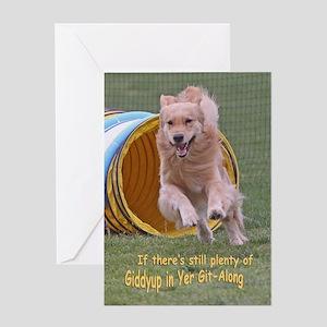 Golden Retriever Birthday Card 'Giddyup'