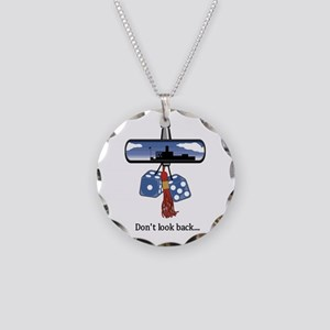 Don't Look Back Necklace Circle Charm