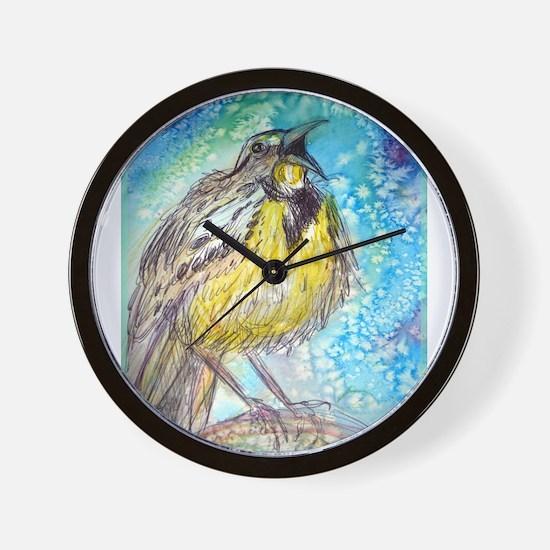 Bird, Meadowlark, bright, Wall Clock