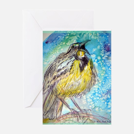Bird, Meadowlark, bright, Greeting Card
